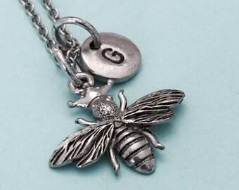 Queen bee necklace, queen bee charm, bee necklace, bee charm, personalized necklace, initial necklace, initial charm, monogram