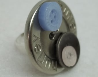 upcycled silver button adjustable ring,Silver metal blue button adjustable fashion silver ring,Hurley fashion button ring,teens,women