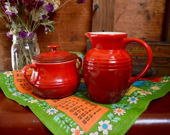 Vintage Red Le Creuset Ceramic Creamer Small Pitcher and Sugar Bowl Jar with Lid