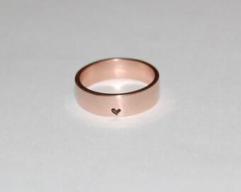Little, little bit of Heart 14kt  Rose Gold Ring, wedding band, commitment ring, promise ring
