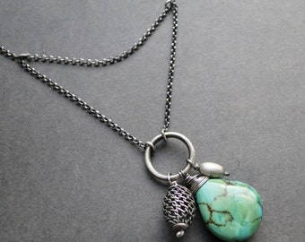 Silver turquoise necklace, turquoise pendant
