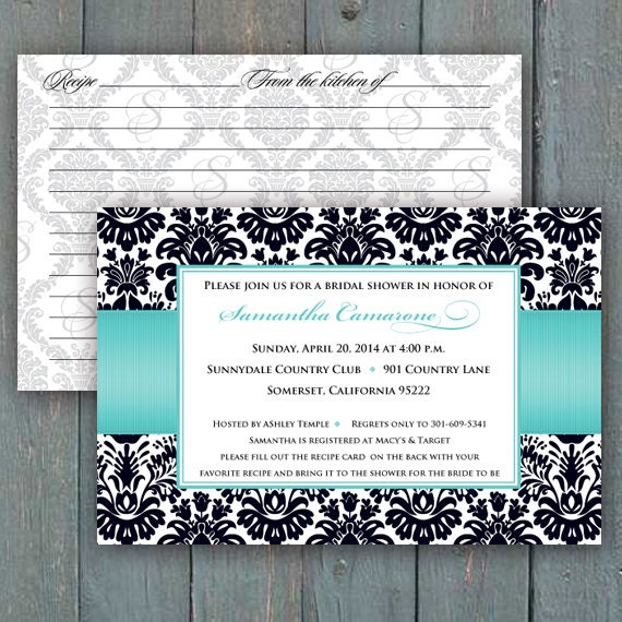 bridal shower invitations, recipe cards, recipe exchange, turquoise bridal shower invitations, turquoise wedding shower invitations, IN288