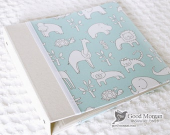 0 to 12 months Baby Memory Book - Mint Animals
