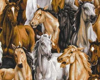 Wild Horses Western Fabric with Horses By the Yard or Half Yard Cowboy Fabric Ranch Bronco Horse Fabric Cotton Quilting Fabric t4/31
