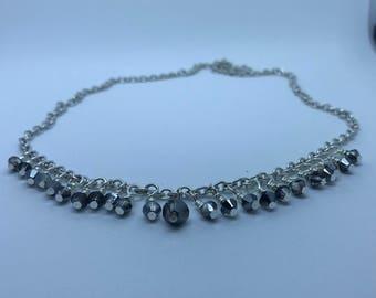 Sterling Silver Grey Swarovski Crystal Necklace