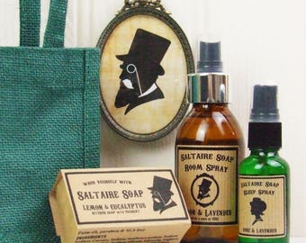 Natural Room and Sleep Spray with Natural Cold-Process Soap Bar Gift Bag Set by Saltaire Soap: you pick scents.