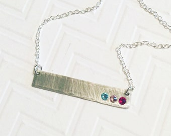 Birthstone Necklace - Mother Necklace - Couples Necklace - Gift For Her - Mothers Day Gift - Sterling Silver Bar Necklace