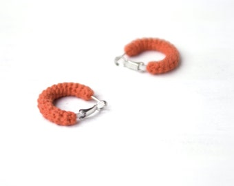 Orange Hoop Earrings Crochet Tube Hoops, 1 inch hoop earrings, Simple Earrings
