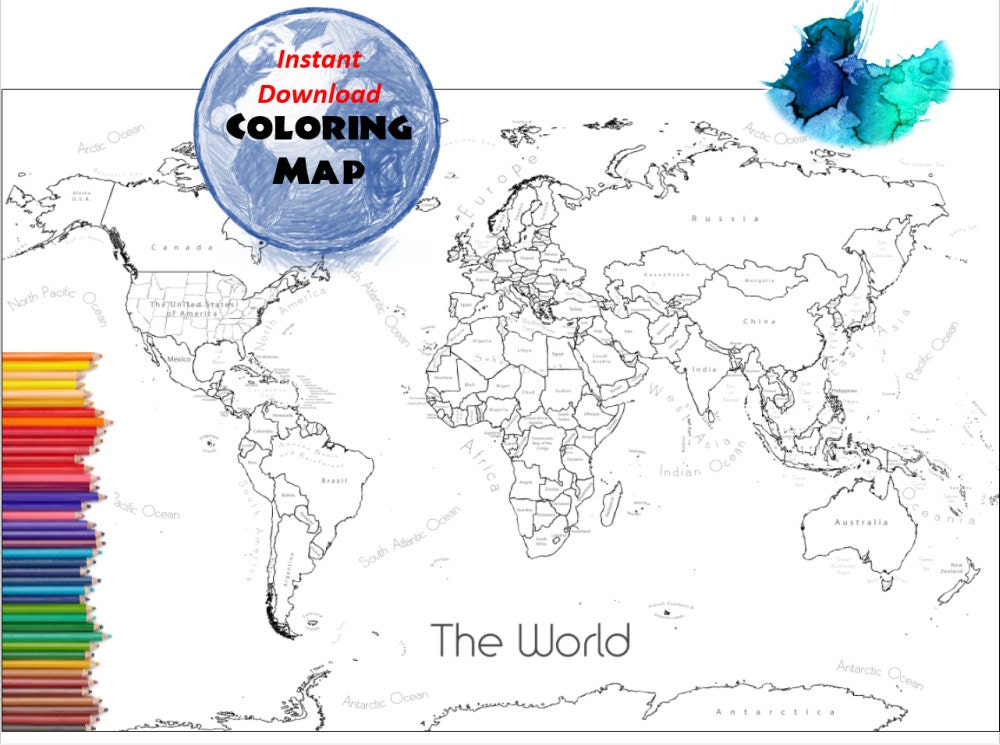 World map coloring page labeled world map a4 and 85x11 inch world map coloring page labeled world map a4 and 85x11 inch coloring book countries outline map with labels from colormyworldmaps on etsy studio gumiabroncs Image collections
