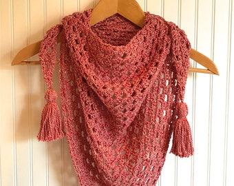 Handmade crocheted triangle scarf.