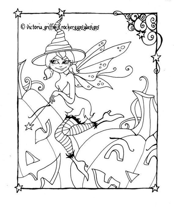 Imprimibles para colorear página Halloween bruja bruja hada