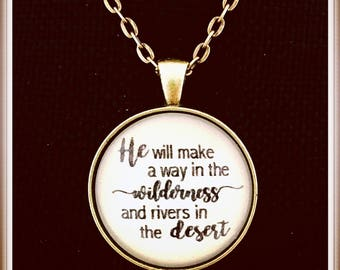 Christian necklace, He will make a way in the wilderness, Scripture Pendant, Bible verse jewelry, Isaiah 43 Pendant, Vintage, Boho Pendant