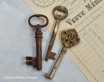 Set 3 Vintage Key, Rusted old Skeleton key, Patina, Antique keys