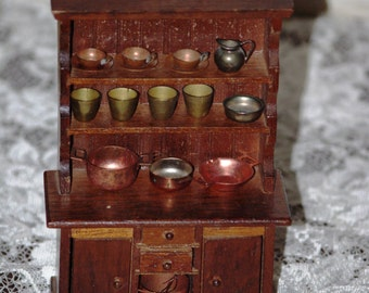 Miniature (Mini) Dollhouse Kitchen Hutch with Copper and Metal Accessories, 1970s