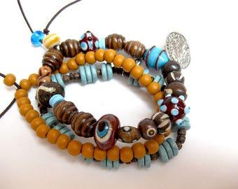 Bracelets, 3erSet, wood and beaded bracelets, elastic bracelets