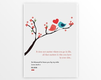 CUSTOM Wedding Anniversary Gift, By Your Side, Personalized Love Story, Marriage Art Print, Love Birds, Love Poem, CUSTOM Your Words