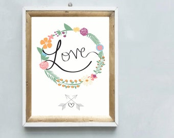 A gorgeous printable LOVE art print floral wreath with heart & arrows