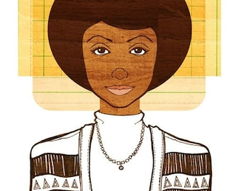 Yearbook Lucy Print, (African American Art, Natural Hair Illustration)