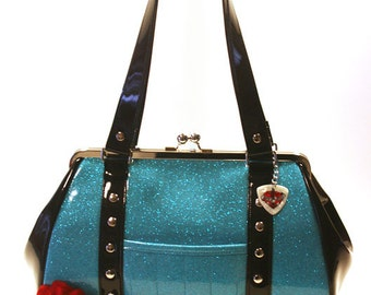 Sky Blue Sparkle Purse - Black and Blue Bag - Vinyl Handbag - Pin Up Purse - Rockabilly Bag - MADE TO ORDER