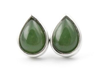 Canadian Nephrite Jade Pear Earrings, 0760