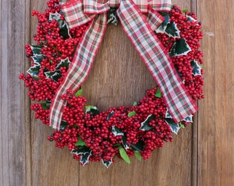 Christmas Berry Wreath, Holly Berry Wreath, Red Berry Wreath, Christmas Wreath, Holiday Wreath, Red Wreath, Winter Wreath, Front Door Wreath
