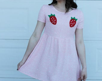 DIY Strawberry Dress, STRAWBERRY Boob Dress, Handmade Strawberry Dress, Fruit Dress, Pink Baby Doll Dress, Strawberry Pink Dress, Kawaii