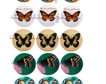 YOU PRINT!!! 1 Inch circle diggie 4x6 print out... butterflies #3
