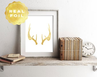 Real Gold Foil Antlers Art Print 4 x 6, 5 x 7, Silver Foil, Trendy, Minimalist, Deer Print, Print Series, Room Decor, Office Decor