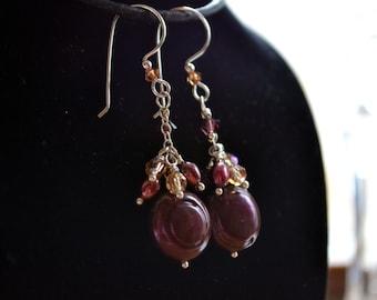 Merlot Coin Pearl Earrings Swarovski Crystals Handmade Earwires