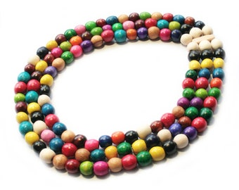 Rainbow wood necklace bright colored bead necklace statement colorful Necklace MultiStrand Necklace wood multilayer necklace ethnic jewelry