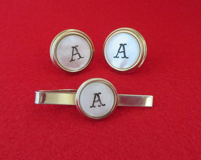 Monogrammed Cufflink Set, Vintage Tie Bar, Cuff Links, Letter A Cufflink Set, Mother of Pearl Jewelry, Men's Suit Accessories, Gift for Him