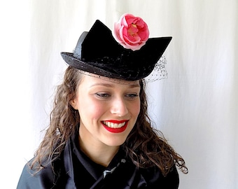 1950s Hat by Svend, Paris, Authentic Reproduction, Black with Pink Flower