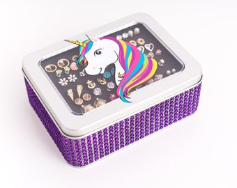 Unicorn Earring Box - Purple Jeweled Ribbon - Earring Holder