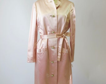 1960s Pink Silk Coat Dress Rhinestone Buttons