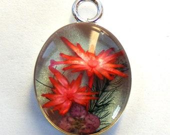 Red Flowers Resin Pendant