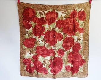 Vintage scarf floral abstract  66cm x 67cm