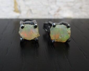 Opal stud earrings, rough opal studs, Ethiopian Welo opal earrings, raw stone oxidized sterling silver earrings, everyday gemstone posts