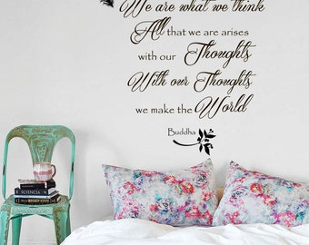 Wall Decals Quote We are what think All  arises with our thoughts Buddha Quote Feather Meditation Wisdom Inspiration Vinyl Decal Sticker S68