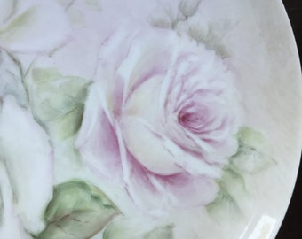 Pastel Roses Hand Painted Porcelain Dish German Porcelain Painting Art Pink Cream Green Bouquet of Roses Cottage Country Decor Romantic Wall