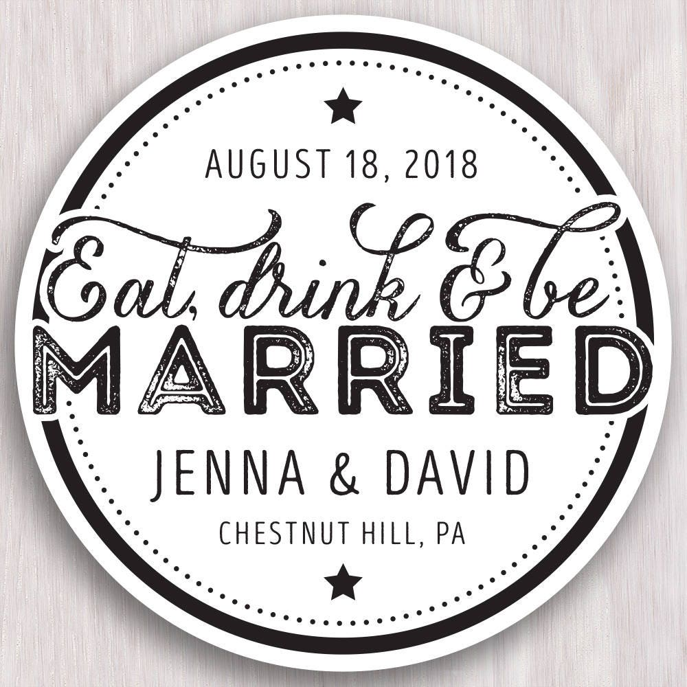 Eat Drink and Be Married Coaster Save the Date. Coaster Save