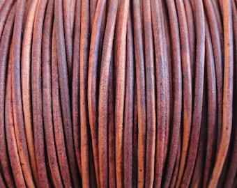 2mm Turkey Red Leather Cord - Natural Dye - Round - 2 Yard Increments