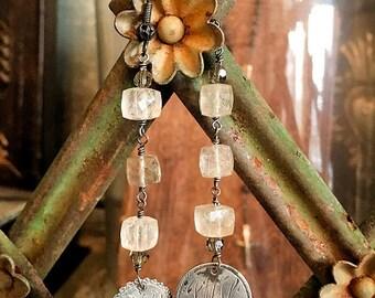 Vintage Silver Love Token Earrings