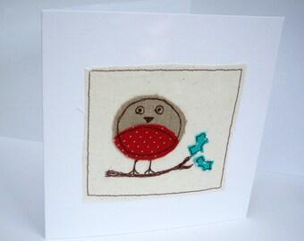 Handmade Christmas Robin Card - Machine Embroidered Robin - Paper Handmade Greeting Card - Holiday Card