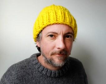 Hand Knitted Beanie - Neon Yellow