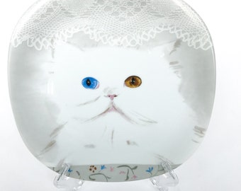 80s • C. Pradalie • Minou-ettes Heterochromia Persian Cat Plate