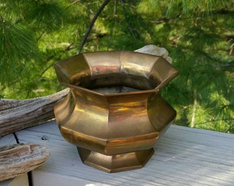Brass Octagon Pedestal Planter Vintage Home Decor