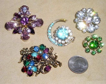 5 Vintage Rhinestones Brooch Pin Lot Two Coro 1940's-50's Priced To Sell Jewelry Lot A62