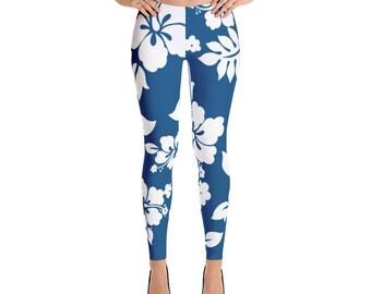 Blue White Floral Leggings For Women Yoga Pants Yoga Leggings Workout Leggings Pattern Leggings Printed Leggings Fashion Leggings Tights