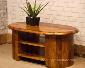 Solid Indian Rosewood Jali Thakat Sheesham Oval TV stand or coffee table H-236 90cm wide