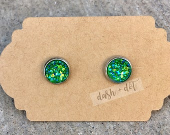 8mm Green Druzy Earring / Surgical Steel Earrings / Faux Druzy Earrings / Stud Earrings / Rose Gold Earrings / Childrens Earrings